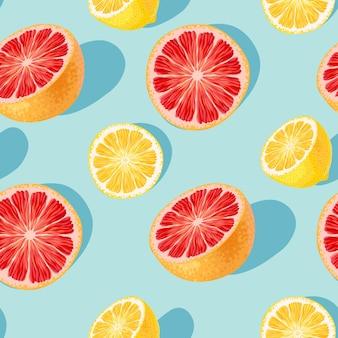 파란색 배경에 자몽과 레몬이 있는 벡터 원활한 패턴