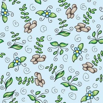 Vector seamless pattern with grass - doodling design