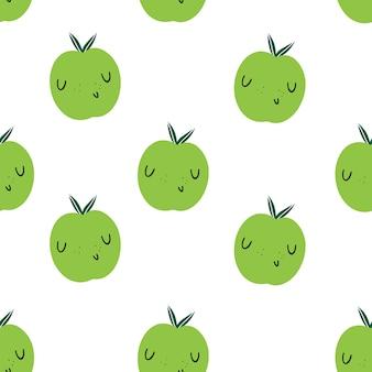 녹색 사과 emoji와 벡터 완벽 한 패턴입니다. 건강에 좋은 음식과 비타민
