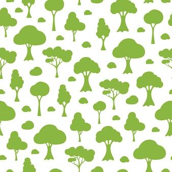 흰색 바탕에 녹색 실루엣 만화 나무와 벡터 원활한 패턴