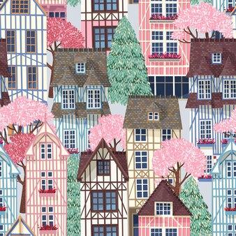 반 목조 주택과 봄 나무와 벡터 원활한 패턴