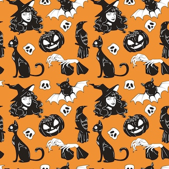 Vector seamless pattern with halloween cute hand drawn elements set