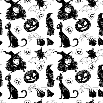 Vector seamless pattern with halloween cute hand drawn elements set.
