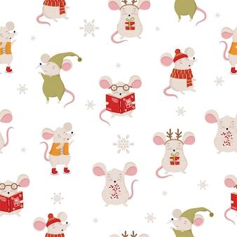 Бесшовный узор вектор с рукой рисунок милые зимние крысы в уютной одежде