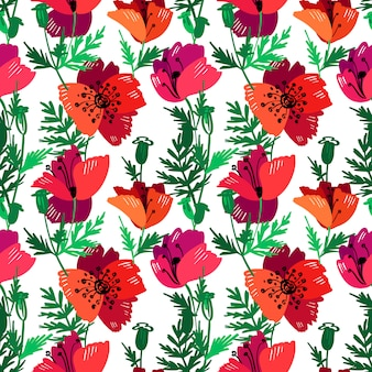 Vector seamless pattern with hand drawing red poppies.