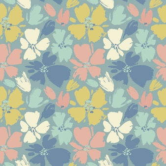 Vector seamless pattern with hand drawing wild flowers, colorful botanical
