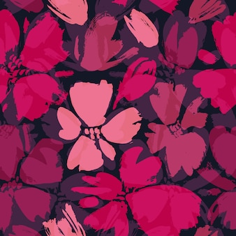 Vector seamless pattern with hand drawing wild flowers.