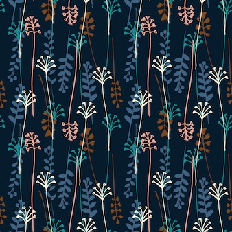 Vector seamless pattern with hand drawing wild plants, herbs and flowers.