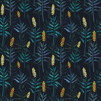 Vector seamless pattern with hand drawing wild plants.