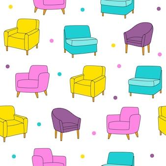 손으로 그린 악센트 의자가 있는 벡터 매끄러운 패턴입니다. 아름다운 디자인 요소