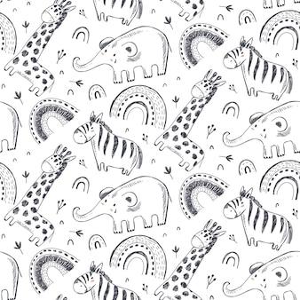 손으로 그린 아프리카 동물과 벡터 원활한 패턴 흑백 끝없는 배경