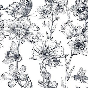 Vector seamless pattern with hand drawn chamomile, wildflowers, herbs, butterflies, bee. monochrome endless illustration in sketch style.