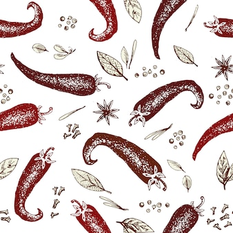 Vector seamless pattern with hand drawn chili pepper and spices. engraved style illustration.