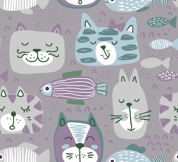 Vector seamless pattern with hand drawn colorful cat faces and graphic fishes