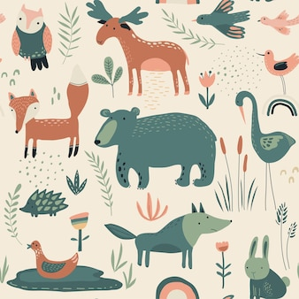 Vector seamless pattern with hand drawn forest animals trees flowers and plants