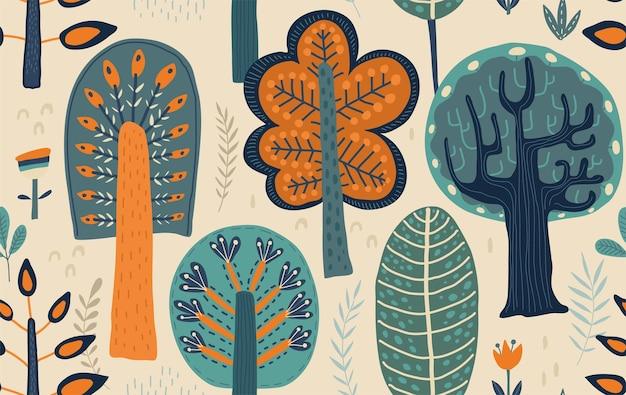손으로 그린 숲 나무 식물 꽃 벡터 원활한 패턴