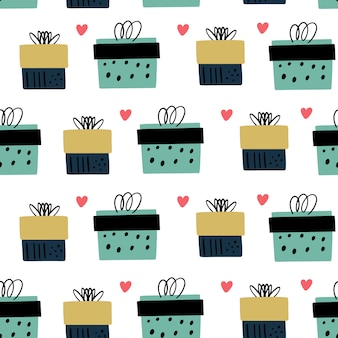 Vector seamless pattern with hand drawn gift boxes in doodle style.