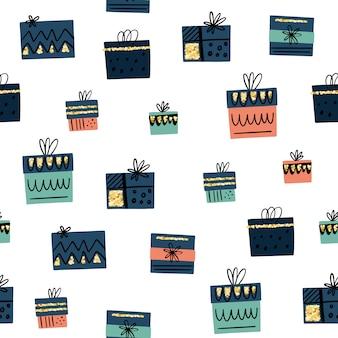손으로 벡터 원활한 패턴 낙서 스타일에서 선물 상자를 그려.