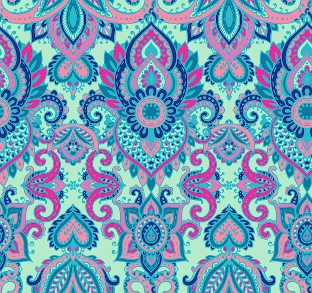 Vector seamless pattern with hand drawn henna mehndi floral elements. beautiful colorful endless background in oriental indian style in blue colors