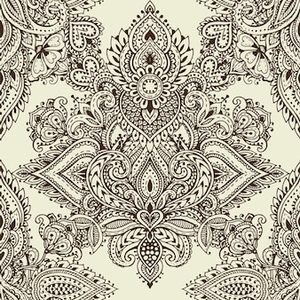 손으로 그린 헤나 멘디 꽃 요소가 있는 벡터 매끄러운 패턴입니다. 동양 인도 스타일의 아름다운 끝없는 배경