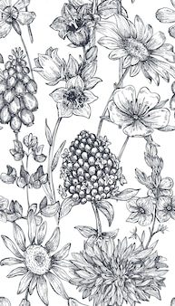 Vector seamless pattern with hand drawn herbs and flowers on white background