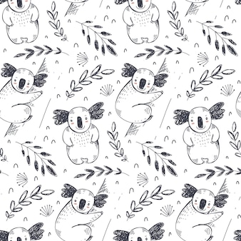 Vector seamless pattern with hand drawn koala animals and plants