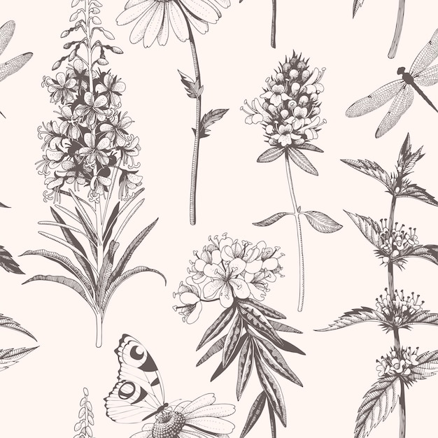 Vector seamless pattern with hand drawn meadow flowers