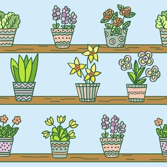 表紙、本、パッケージ、壁紙、テキスタイルに印刷するための、青い背景の木製の棚に手描きのマルチカラーの鉢植えの花とシームレスなパターンをベクトルします。