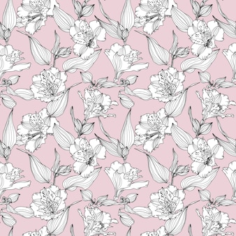 Vector seamless pattern with hand drawn plants.