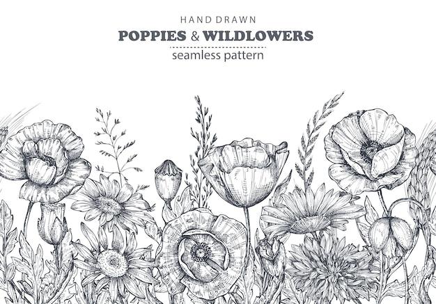 흰색 바탕에 손으로 그린 양귀비와 다른 꽃과 식물이 있는 벡터 원활한 패턴
