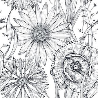 흰색 바탕에 손으로 그린 양귀비, 수레 국화, 카모마일 벡터 원활한 패턴