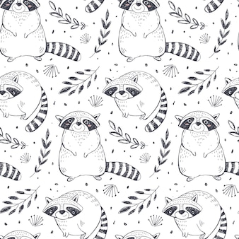 Vector seamless pattern with hand drawn raccoon animals and plants