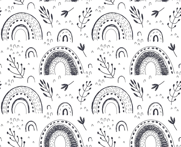 Vector seamless pattern with hand drawn rainbow and abstract texture