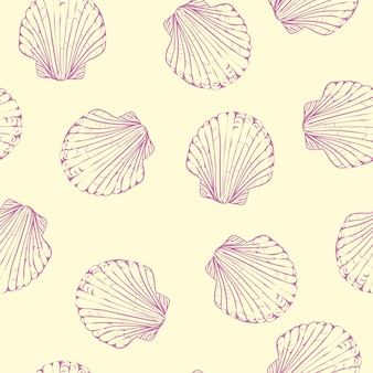 Vector seamless pattern with hand drawn scallop shells.
