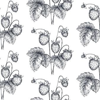 スケッチスタイルで手描きのイチゴとシームレスなパターンをベクトルします。詳細な菜食主義の食糧図面。美しいヴィンテージの無限の背景