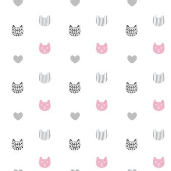 グラフィック落書きスタイルの手描きテクスチャ猫とシームレスなパターンをベクトルします。
