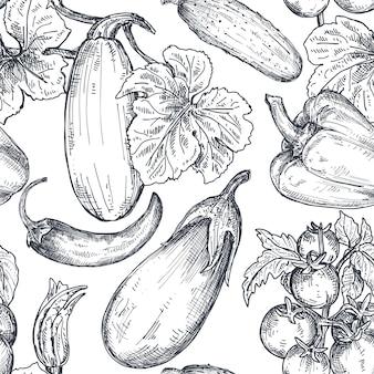スケッチスタイルで手描き野菜とシームレスなパターンをベクトルします。農産物市場の製品。ビートルート、キャベツ、ブロッコリー、カリフラワー、レタス、白菜。詳細な菜食主義の食糧図面。