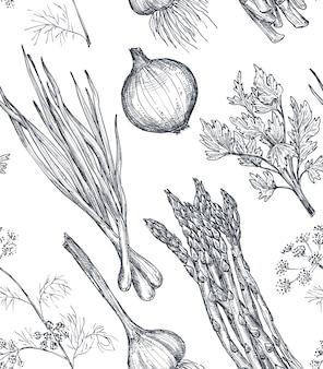 Вектор бесшовные модели с рисованной овощами в стиле эскиза продуктов фермерского рынка