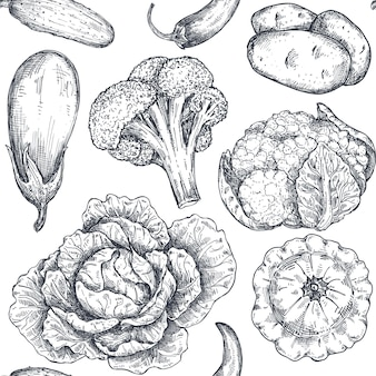 Vector seamless pattern with hand drawn vegetables in sketch style farm market products