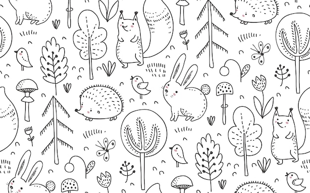 Vector seamless pattern with hand drawn wild forest animals trees flowers mushrooms