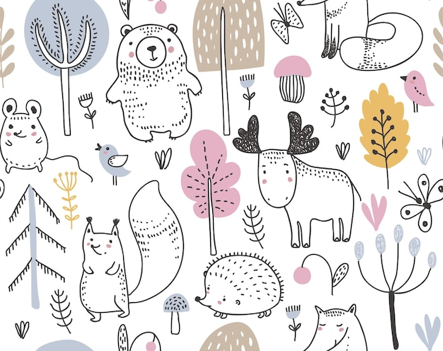 Vector seamless pattern with hand drawn wild forest animals trees flowers