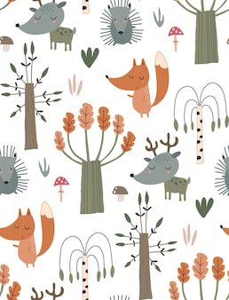 Vector seamless pattern with hand drawn wild forest animals and trees