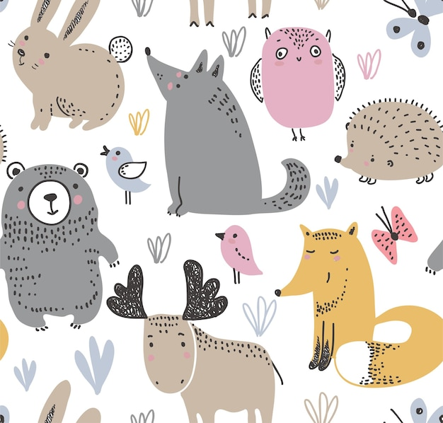 Vector seamless pattern with hand drawn wild forest animals on the white background