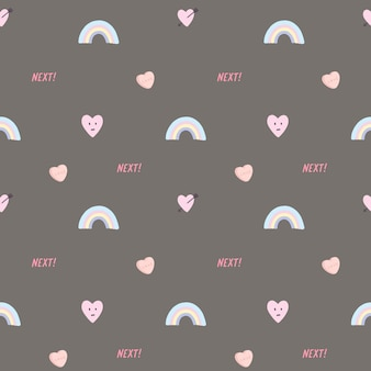 Vector seamless pattern with hearts and rainbow.