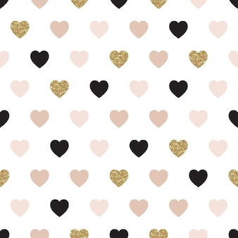 Vector seamless pattern with hearts of rose, gold, and black.