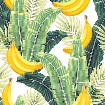 Бесшовный узор вектор с высоким подробным бананом и банановыми листьями