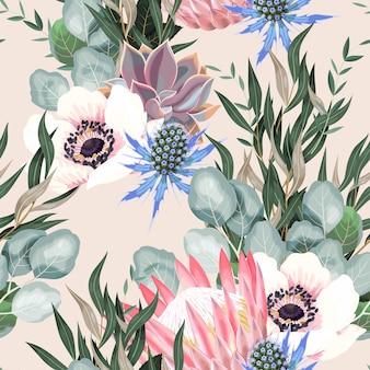 흰색 배경에 높은 상세한 프로테아 꽃과 단풍이 있는 벡터 원활한 패턴