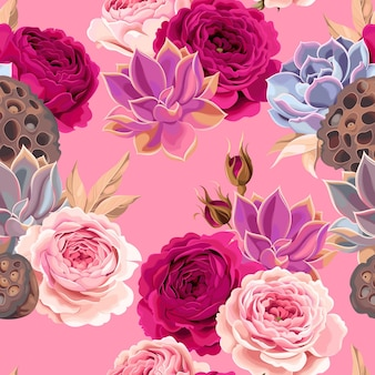 Vector seamless pattern with high detailed succulents and roses on pink background