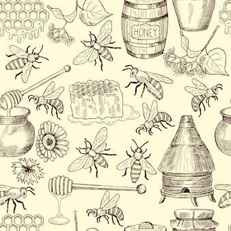Бесшовный узор вектор с медом, пчелами и сотами
