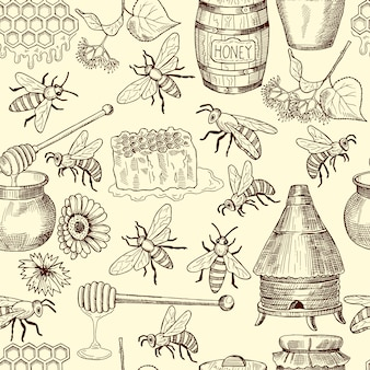Vector seamless pattern with honey, bees and honeycomb